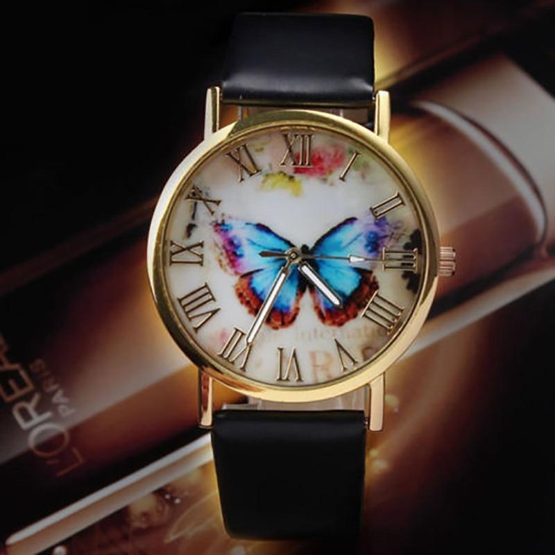 Damklockor Butterfly Leather Strap Analog Ladies Quartz Armbandsur