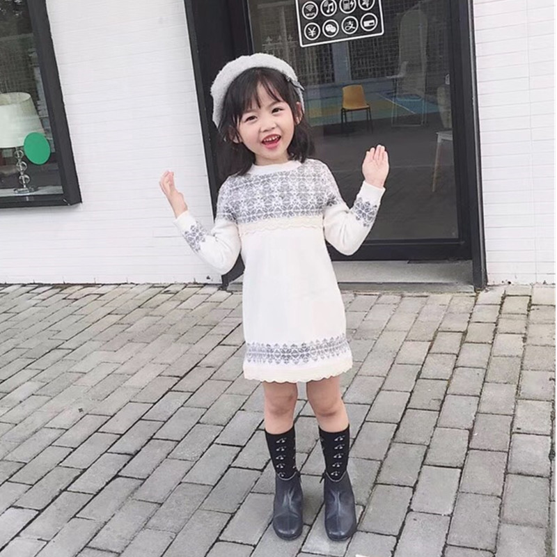 Girls autumn winter dress wool dresses Snowflake pattern knitted long sleeve warm dress decorated with lace girls dresses readit knitted dress 2017 autumn winter side split with faux pearl beading long sleeve elegant slim dress vestidos d2745