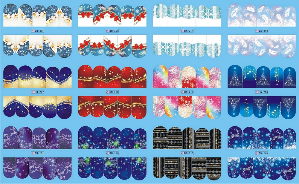 12 PACK/ LOT  WATER DECAL NAIL ART NAIL STICKER FULL COVER CHRISTMAS XMAS SNOW FLAKE DEER BN205-216