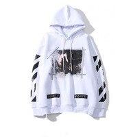 2019 Spring Autumn Mens Cotton Splash Ink Sweatshirt Hip Hop Striped Hoodies Street Style Print Loose Off White Baseball Uniform