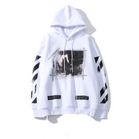 2019 Spring Autumn Mens Cotton Splash Ink Sweatshirt Hip Hop Striped Hoodies Street Style Print Loose Off White Baseball Uniform