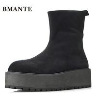 Creepers Real Leather Bootie Cow Suede Brand Male Casual Shoes Tall Footwear High Top Thick Sole