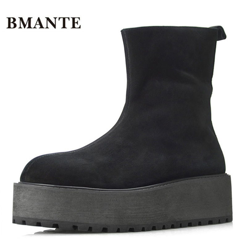 creepers Real leather bootie Cow suede brand male Casual shoes tall Footwear high top Thick sole tide Platform Harajuku boot men все цены