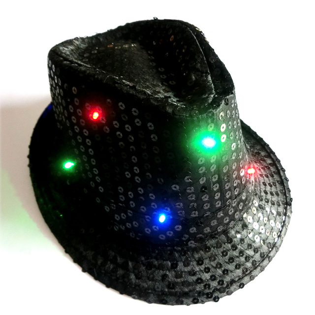 5PCS Adult Size Unisex Hat Sequin LED Flashing Hat Fedora Hat for dancing  party night clubs bars 7067ca95919e