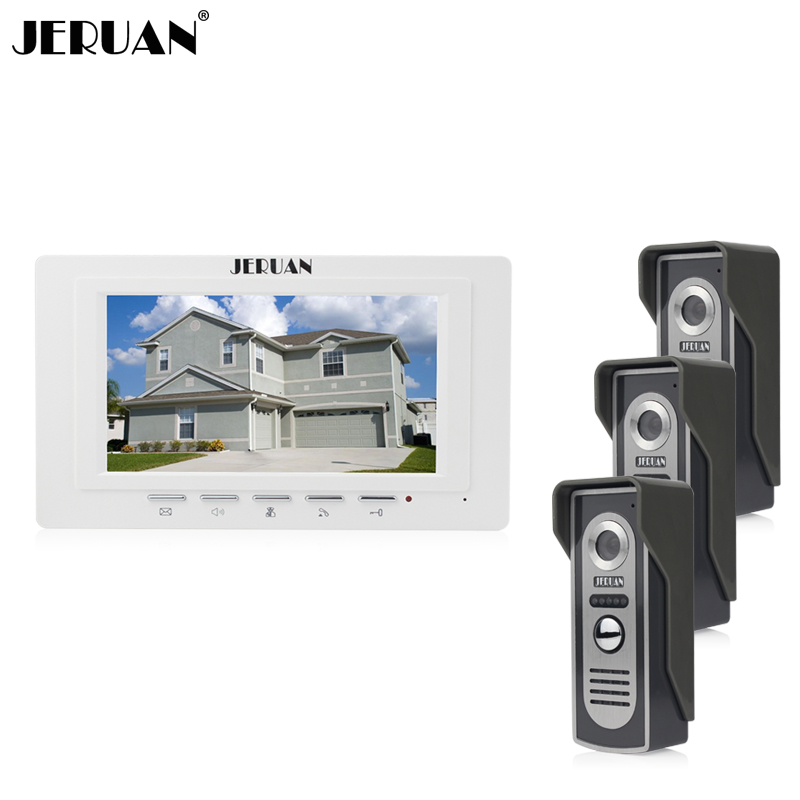 JERUAN Home wired 7`` LCD screen video door phone intercom system 1 monitor 3 Cameras Control three doors Free Shipping