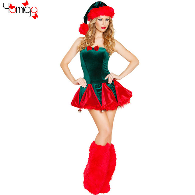 3 piecesset red and green costume dress sleeveless girls xmas santa costumes winter new