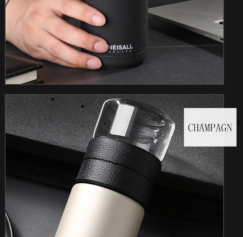 HTB1LDzCNNjaK1RjSZFAq6zdLFXaU Thermos Bottle Stainless Steel Tea Partition Thermo Cup Glass Tea Strainer Thermos Mug Bottle Vacuum flask Bottles 400ml + 200ml