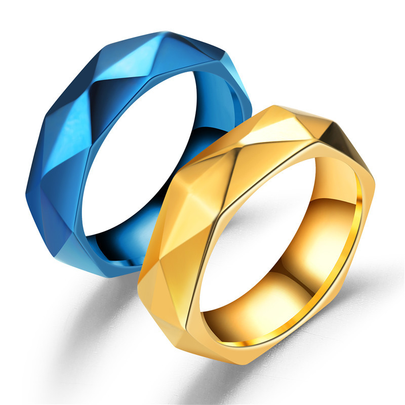 Stainless steel Gold and Blue Color Multifaceted Prism Rhombus 6mm Wedding Ring for Men Women