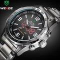 Marca de luxo Weide homens completa aço relógios dos homens de quartzo de Led Digital Watch relógio militar Man Sports relógio de pulso Relogio Masculino