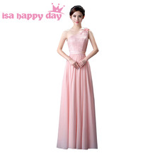 2019 formal chiffon light pink bridesmaid dresses for bridesmaids one  shoulder long gowns floor length 6 styles dress H3603 6f3ea91b1fae