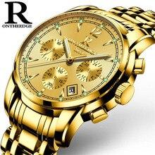Marca de luxo Mens Luminosos Relógios de Quartzo Relógio Casual Homens Cinta de Aço Inoxidável 6 Mãos Multifunções Relógio relogio masculino