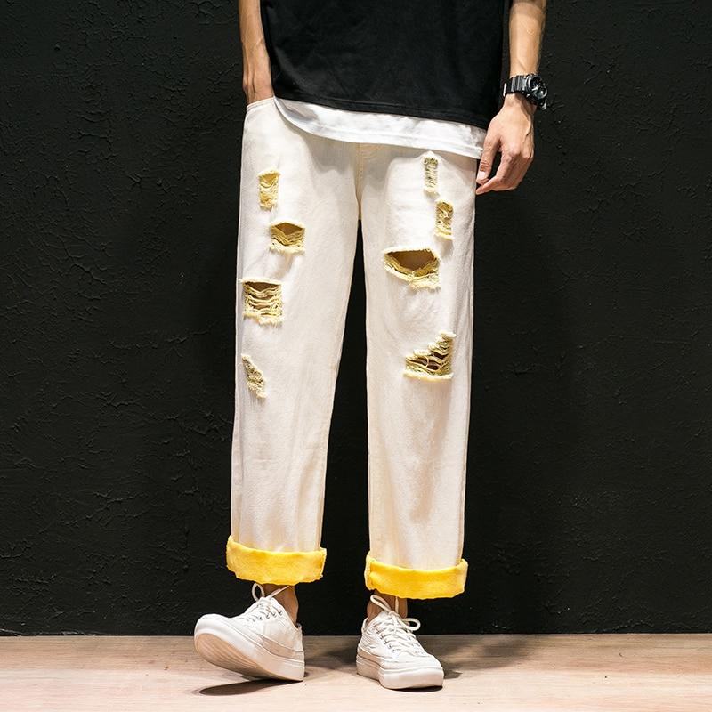 Рваные прямые джинсы для мужчин контрастные манжеты Хлопок широкие ноги промывают отверстие 2019 хип хоп Уличная свободные до щиколотки повс