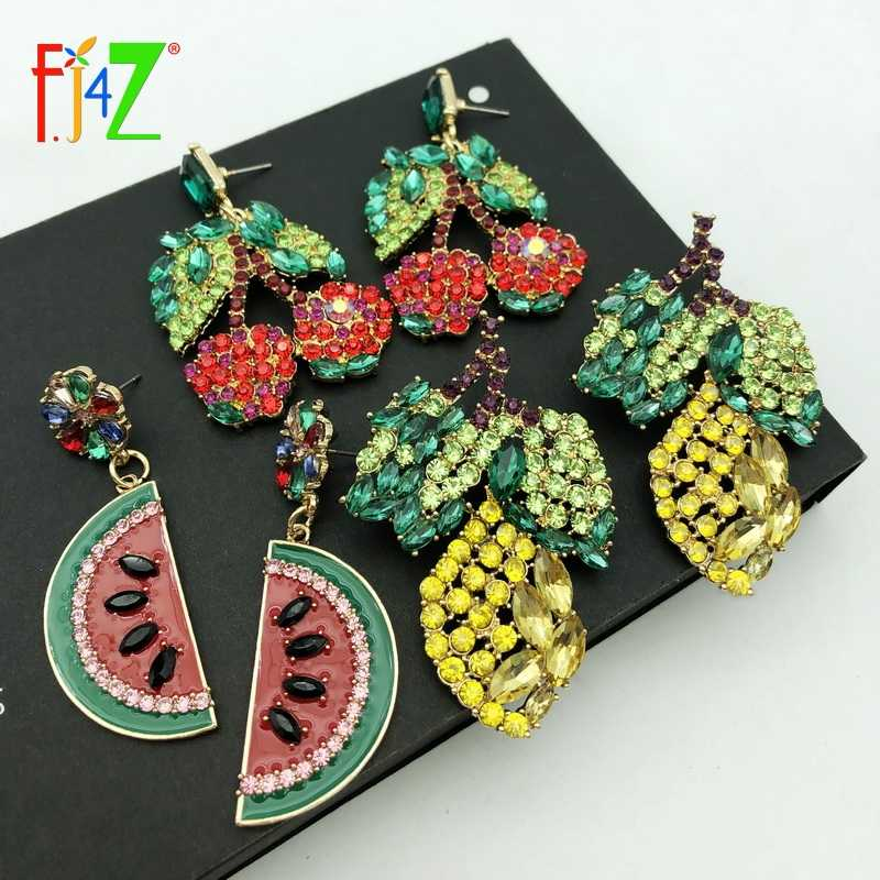F.J4Z Hot Women Luxury ZA Earrings Boho Sparkling Crystal Cherry Lemon Watermelon Fruit Earrings Party Earrings Party Jewelry