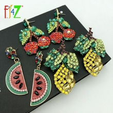 F.J4Z Hot Women Luxury ZA Earrings Boho Sparkling Crystal Cherry Lemon Watermelon Fruit Party Jewelry