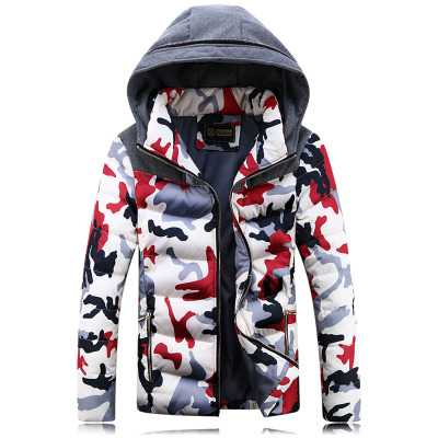 Fashion Winter Coats And Jackets For Men Camouflage Print Hooded Men'S Cotton Wadded Parkas Coat Manteau Hiver Femme A4564
