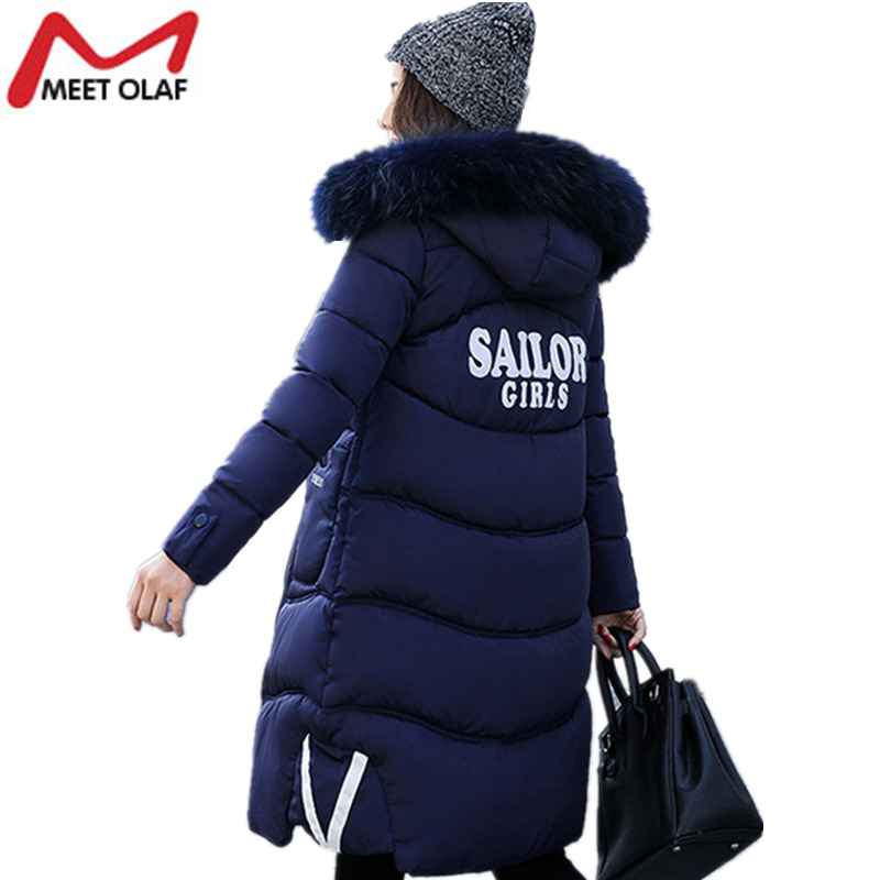 2017 New Women Winter Coats Long Jackets Letter Print Hooded Fur Collar Female Cotton Padded Parka Thick Outwear Plus Size YL994 plus size letter print hooded sweatshirt dress