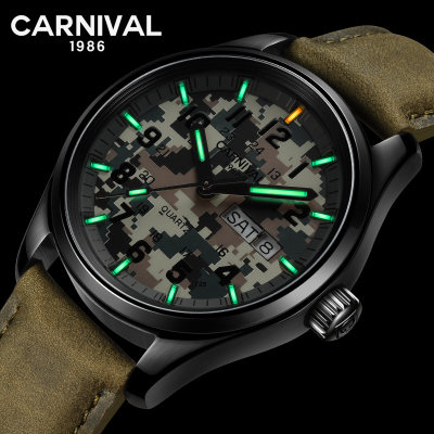Carnival Mens Sport Military T25 Tritium Luminous 30m Waterproof Leather Watchband Quartz Diving Watch цена 2017