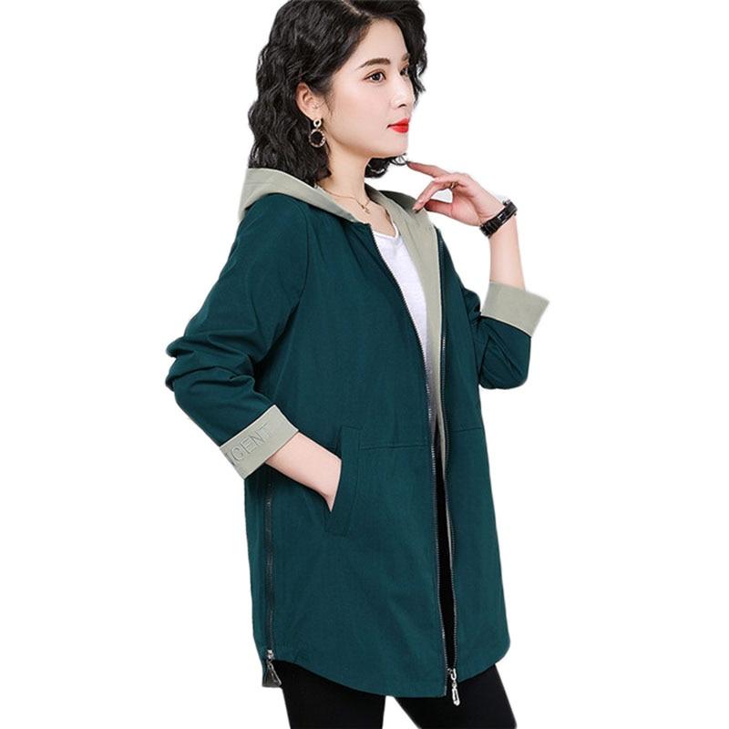 Fashion 2019 Spring coat Women Plus size Trench coats New Casual Women's Windbreaker Coats Loose Autumn Hooded Coats 4XL A1145
