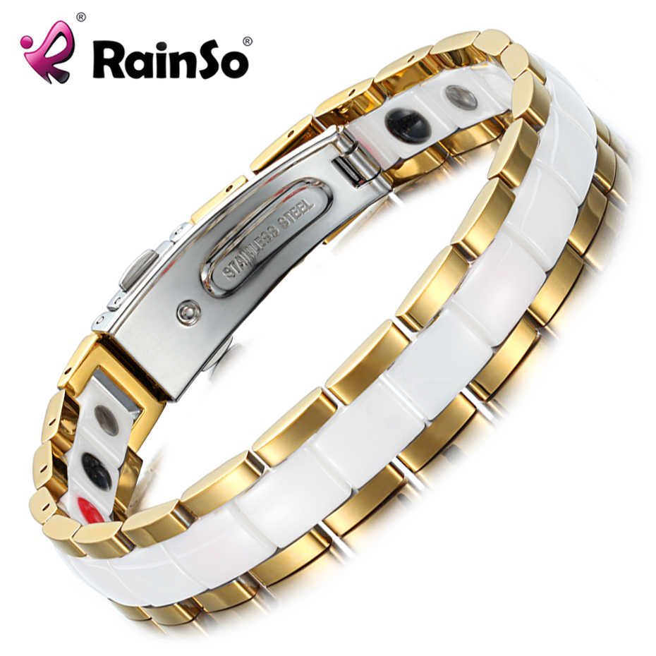 Rainso Elegant White Ceramic Female Bracelets & Bangles for Women Hologram Magnetic Therapy Lady Charm Germanium Jewelry ORB-227