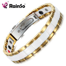 Rainso Elegant White Ceramic Female Bracelets & Bangles for Women Hologram Magnetic Therapy Lady Charm Germanium Jewelry ORB-227(China)