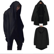2016 Spring Autumn Men's Long Sleeve Mid-long Knitted Hooded Cardigan Sweater Cloak Men's Black Soul Cloak Sweater Clothing