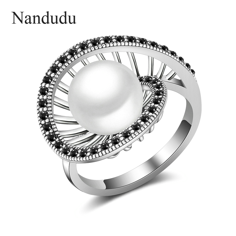где купить Nandudu New Design Hollow Round with Pearl Rings Retro Black Marcasite Stone Invisible Setting Antique Ring Gift R2021 дешево