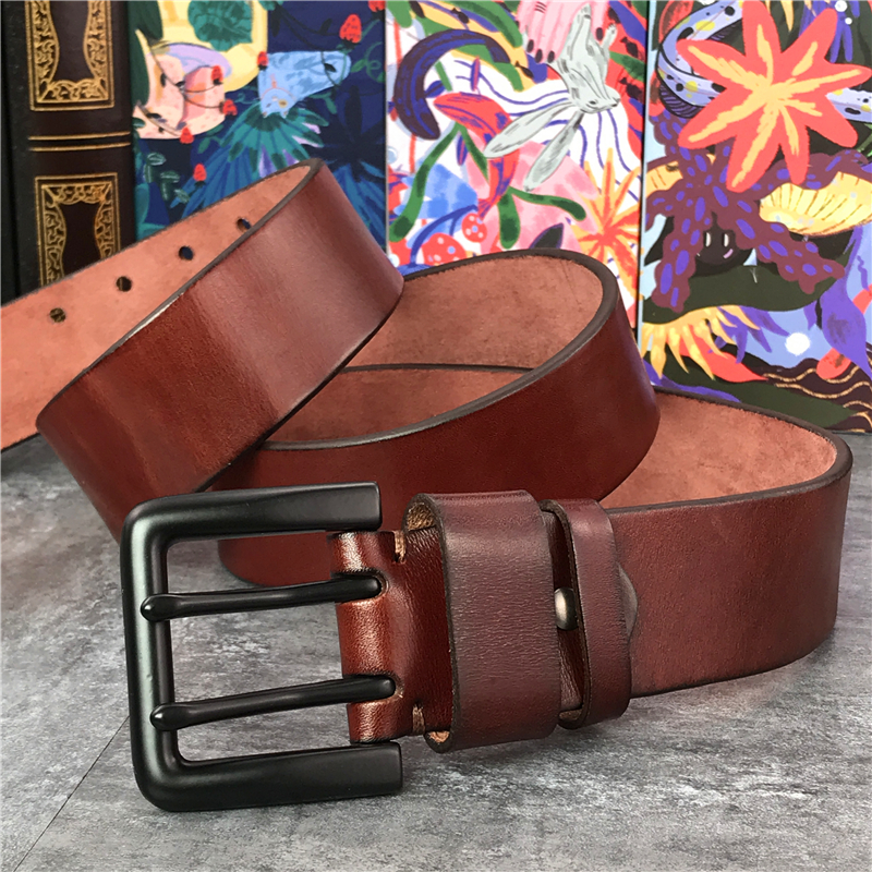 130 CM-138 CM cinturón largo de cuero grueso de lujo cinturón de hombre ancho 4,3 CM doble hebilla Ceinture Jeans cintura cinturón amarillo MBT0018 - 2