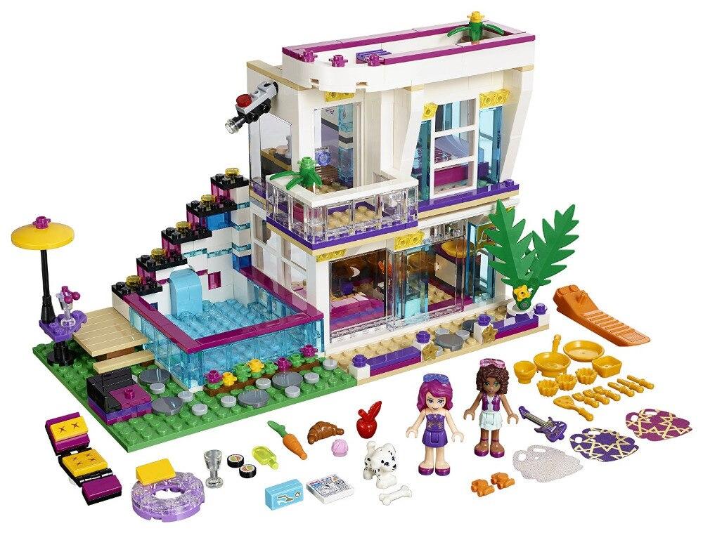BELA Amigos Serie Livi de Pop Star House Building Blocks Classic Para La Muchach