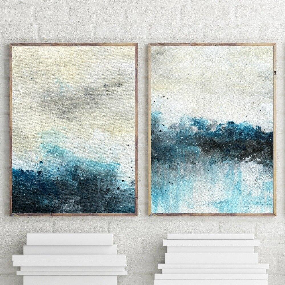 Oil Painting Blue Art Wall Decor Modern