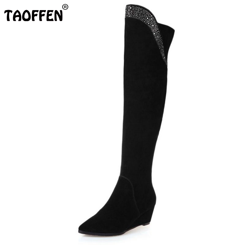 2016 Long Wedge Winter real leather Boots Round Toe Fashion Over Knee Boots For Women Brand Designer New Boots Size 34-39