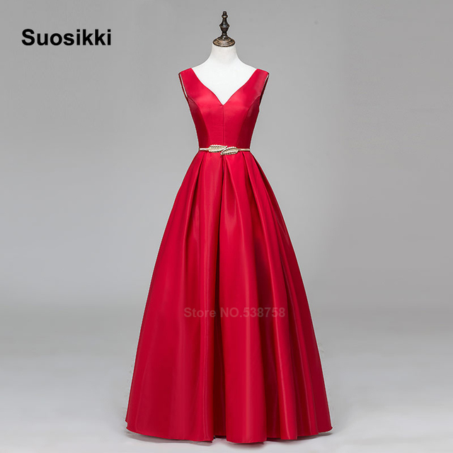 V-neck Double shoulder prom dress long a-line red elegant stain formal evening party dresses robe de soiree free shipping 3