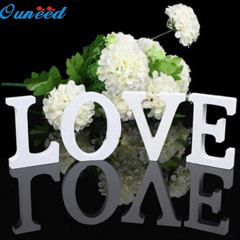 Ouneed Happy Home Freestanding Wood Wooden Letters White Alphabet Wedding Birthday Party Home 1PC