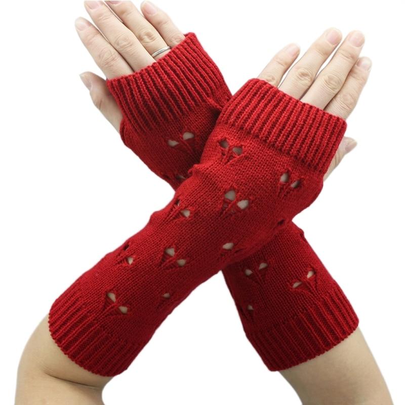 Armstulpen GüNstig Einkaufen Klv Frauen Herbst/winter Herz Muster Aushöhlen Warme Lange Fingerlose Handschuhe Damen-accessoires
