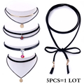 5PCS New Fashion Jewelry 2 Layer Black Leather Rhinestone Choker Necklace Christmas Gold Coin Pendant Necklace for Women Jewelry