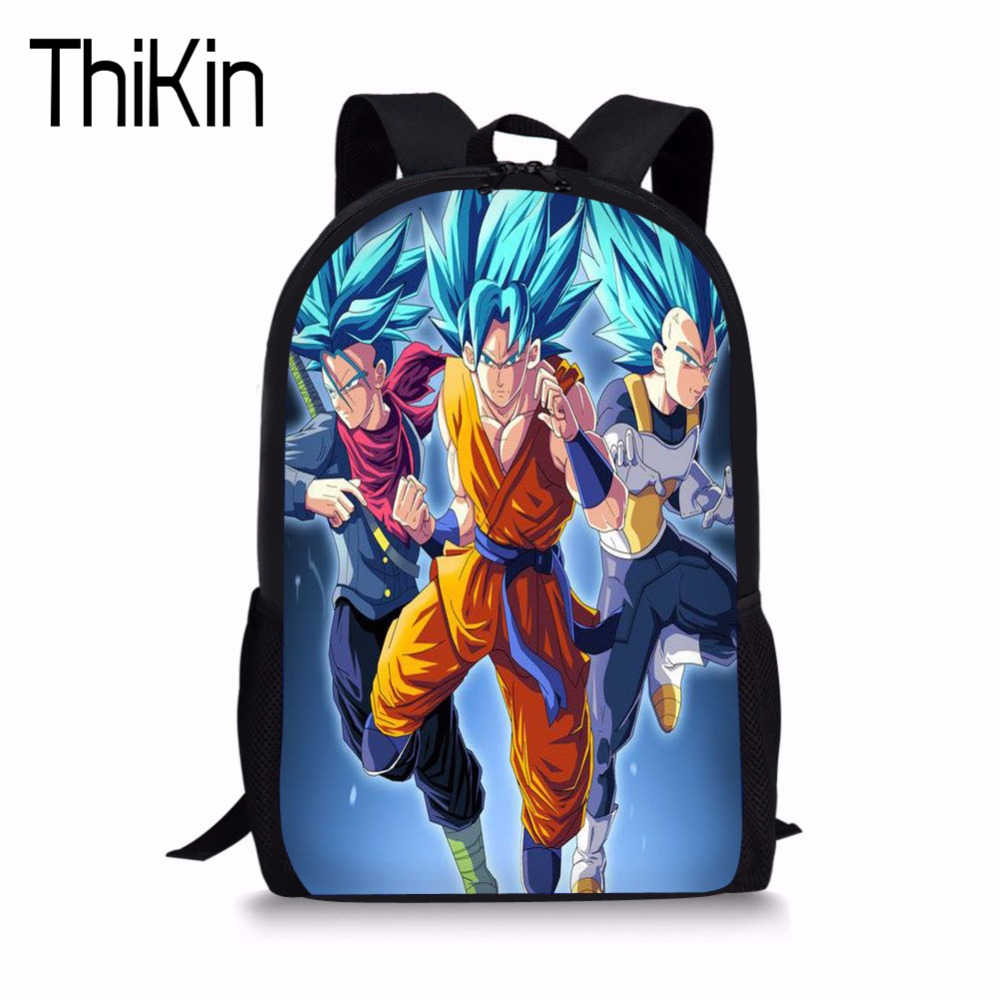 Thikin children anime backpack dragon ball z super blue character son goku vegeta printing school bags for boys cartoon bookbag in backpacks from luggage