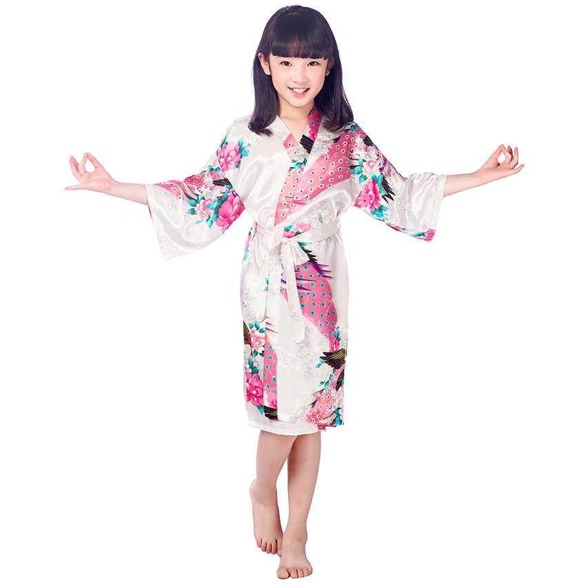 Девушки цветка атлас кимоно халаты Павлин невесты свадебные белые шелковые  халаты детские черный халат Ночное белье 24be9e165e863