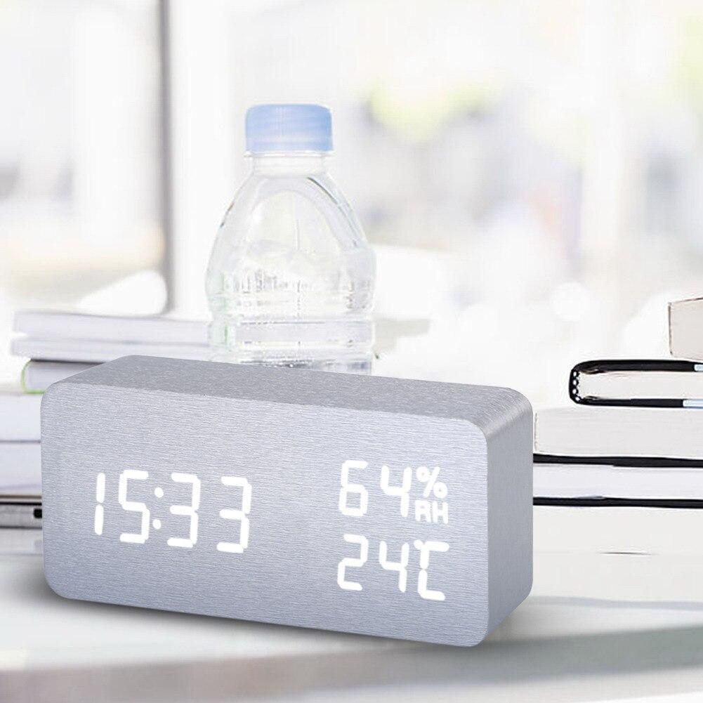 Modern Black LED Digital Alarm Clock Wooden Clock Calendar Thermometer Alarm Clock For Home Decoration