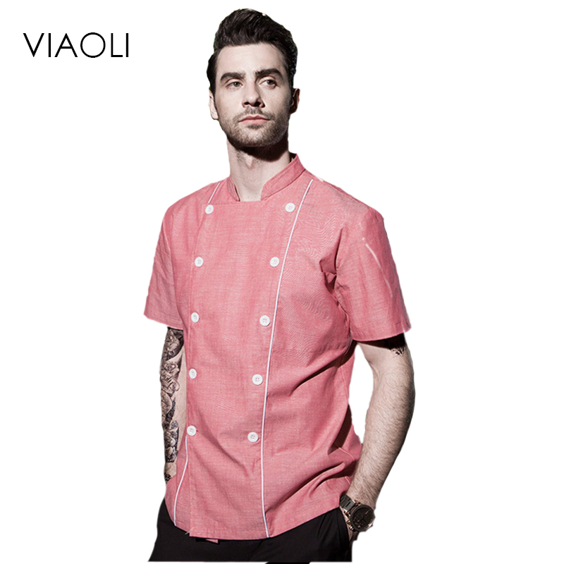 High Quality Chef Uniforms Clothing Short Sleeve Men Food Services Cooking Clothes Big Size Uniform Jackets Overalls Hotel 038