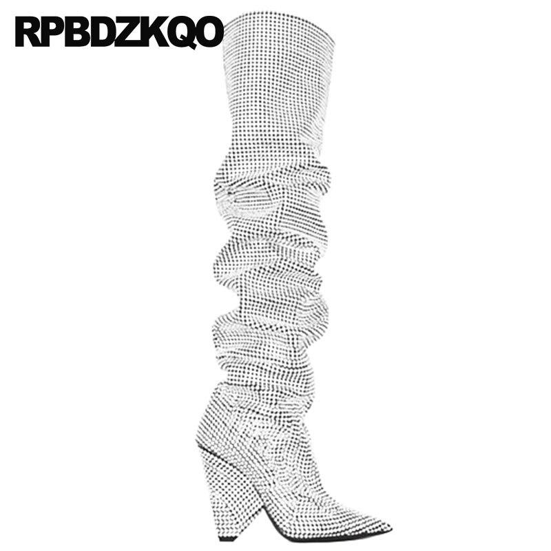 Stiefel Strass Chunky 10 Silber Große Plus Die Oberschenkel Spitz Frauen Knie Hoch Damen Kalb Breiten Dance Schuhe Über Für Ferse Größe P1wqTdRz