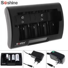 Soshine Универсальный ЖК-дисплей зарядное устройство 12-18 в DC для Ni-MH/Ni-Cd/AA/AAA/9 В/D батарея с вилка Европа/США