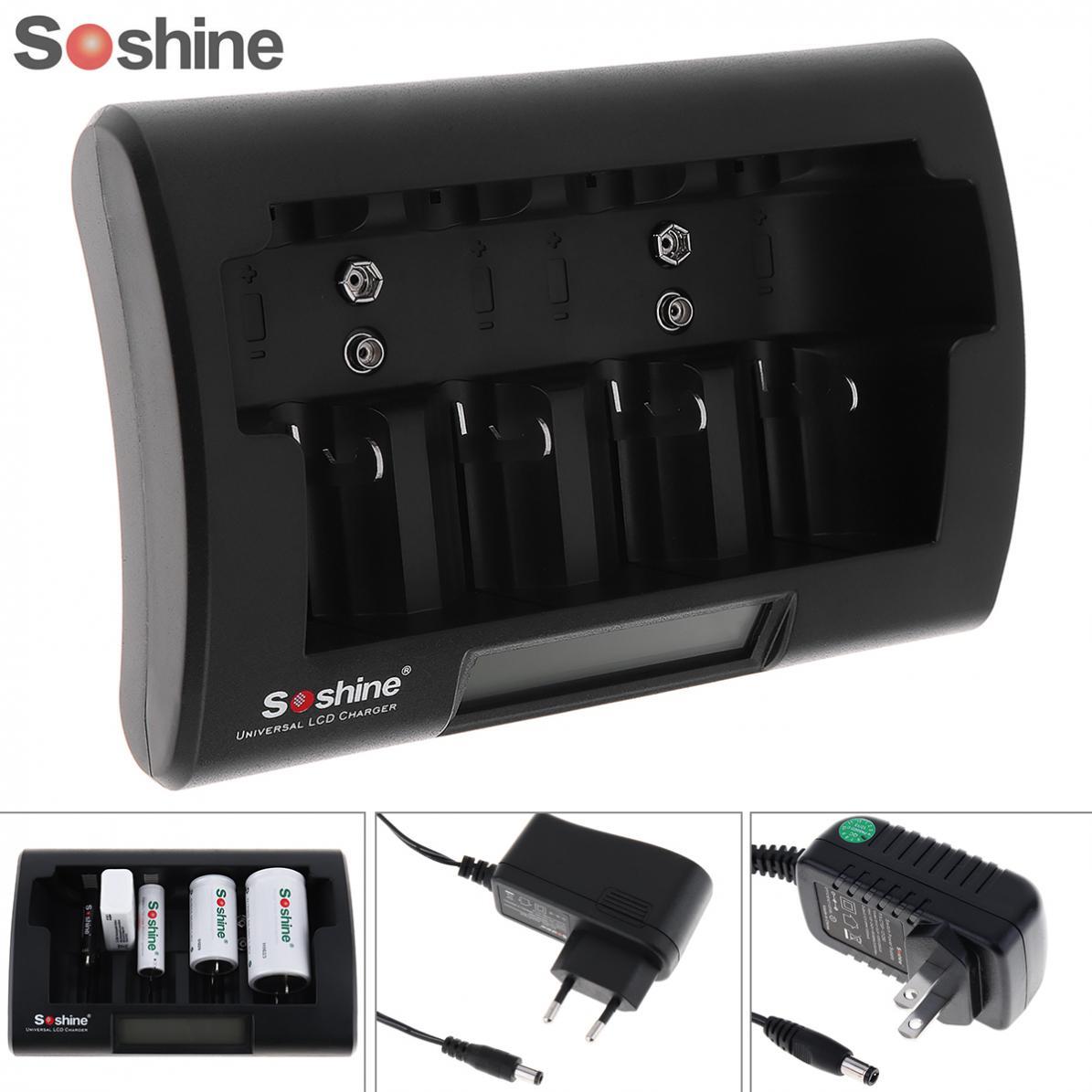 Soshine Universal LCD Display Battery Charger 12-18V DC for Ni-MH / Ni-Cd / AA / AAA / 9V / D Battery with EU / US Plug pkcell fast battery charger for 1 4pcs c lr14 d lr20 aa lr6 aaa lr03 ni mh ni cd and 2pcs 9v rechargeable batteries eu us plug