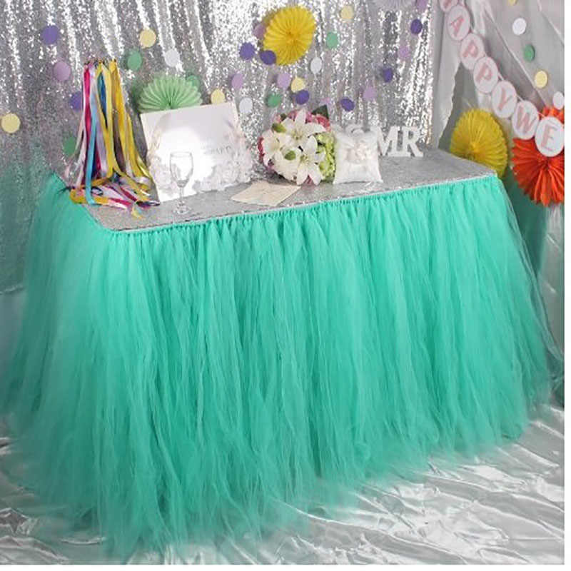 2fa3a760e Falda de mesa de tul Rosa tutú DIY faldas de mesa para Decoración de  cumpleaños de boda 14 colores blanco Baby Shower Favor fiesta hogar textil