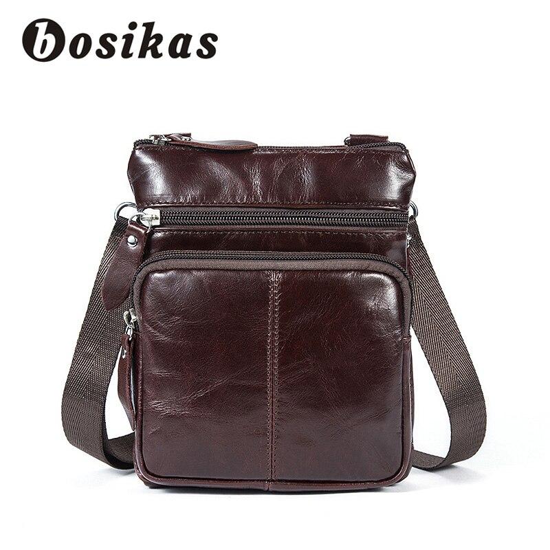 BOSIKAS Genuine Leather men Bag cowhide Messenger Bags Men Leather Bag male Casual Small Flap Shoulder Crossbody Bags Handbags