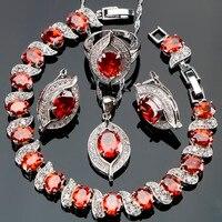 Senhoras Da Moda Conjuntos De Jóias de Noiva Vermelho CZ de Prata Colar Pulseira Anel Brinco Para Noivas de Casamento Partido Prom Jewelry Box Grátis