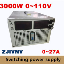 3000W 0-110v 0-27A current&voltage both adjustable Switching power supply 220v AC-DC industry led Laboratory power supply
