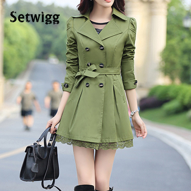 SETWIGG Women Trench Coat Solid Candy Color Double-breasted Collar Lace Hem Waist Bow Sashes Female Long Trench Spring Coat