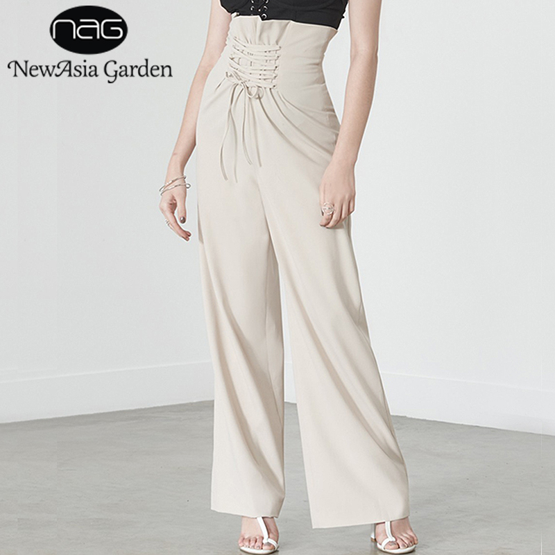 NewAsia Garden Ruffles High Waisted Lace Up   Wide     Leg     Pants   For Work Women Casual Flare   Pant   Girls Summer Long Trousers New 2018