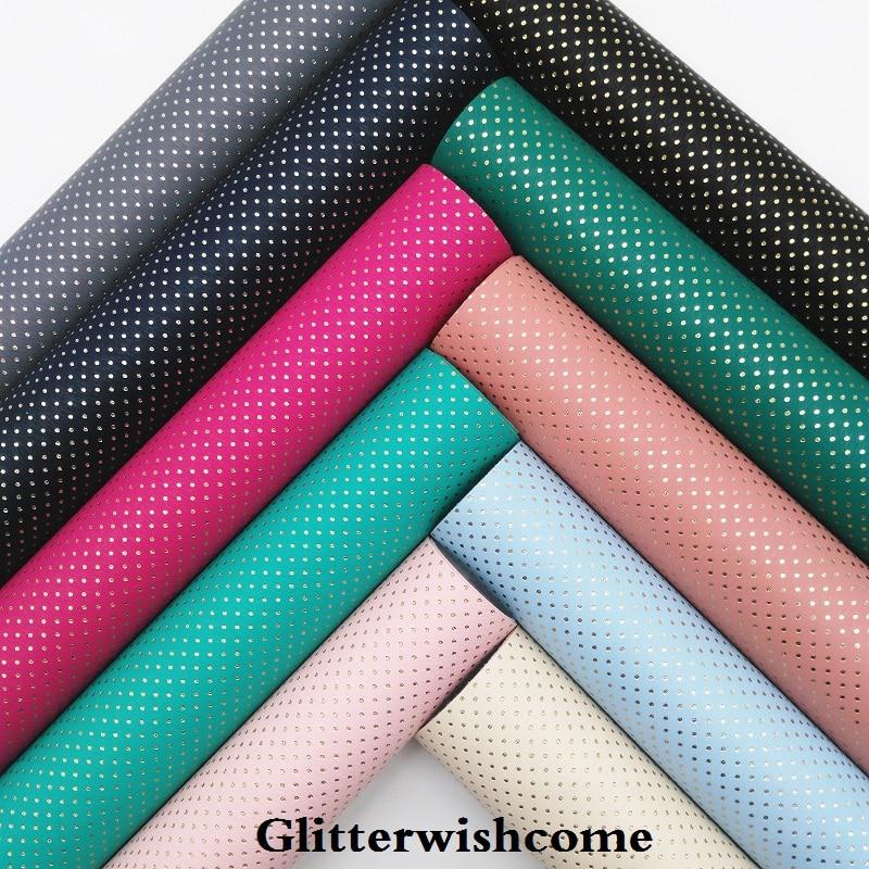 Glitterwishcome 21X29 см A4 Размеры синтетическая кожа, тиснение в Золотой горошек, искусственная кожа PU Ткань Винил для Луки, GM071A