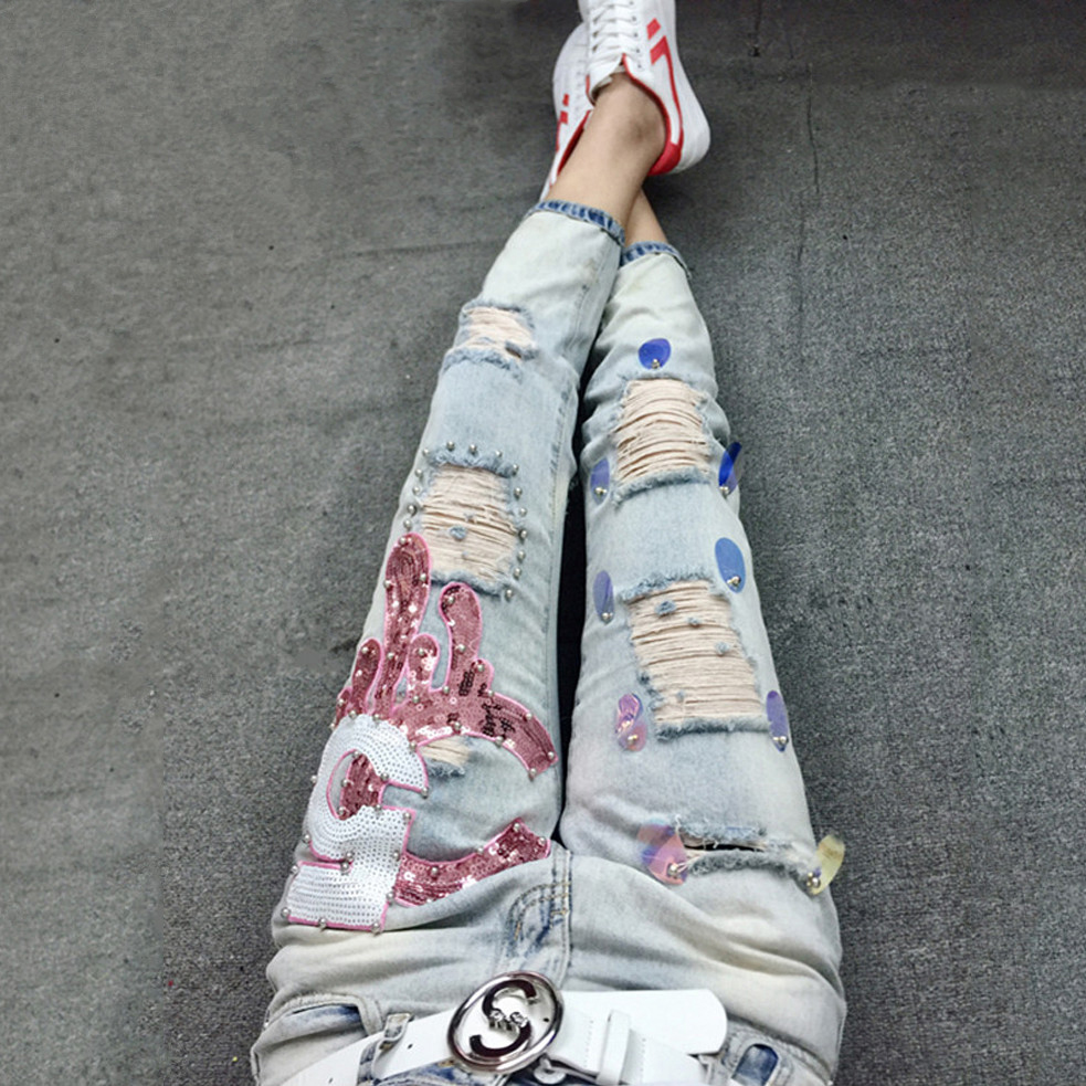 Vintage Ripped Jeans Women Pants Casual Trousers For Ladies Blue Skinny Denim Calf Length Jeans Sequin