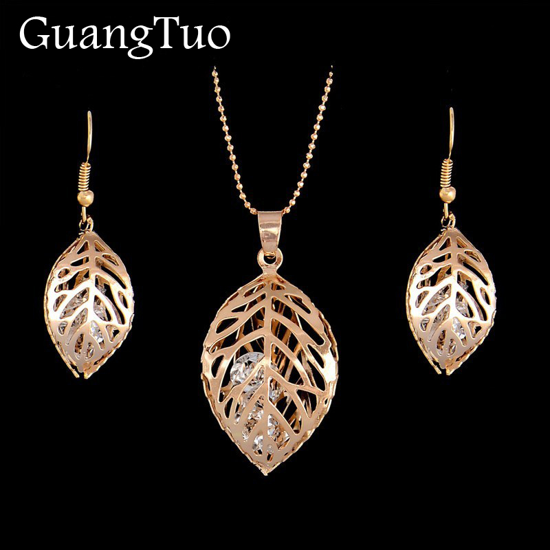 Hollow Leaf Jewelry Sets Simple Crystal Drop Earrings Necklace Women Fashion Wedding Jewelry Fashion Bijoux Boho Pendientes